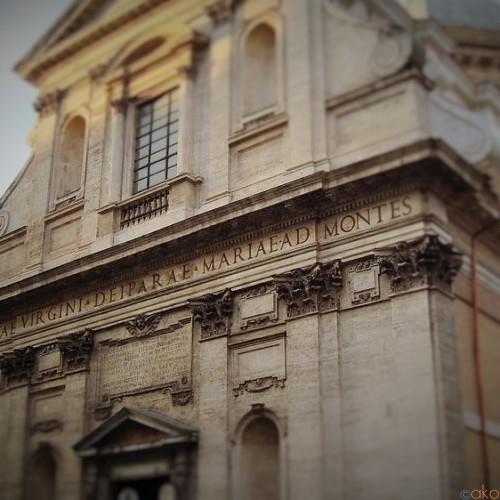 モンティ地区に咲く花。ローマ、サンタ・マリア・アイ・モンティ教会|イタリア観光ガイド